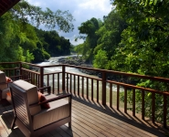 Master bedroom deck with river views