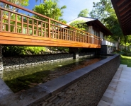 Wooden bridge to access garden view bedrooms and kids bedroom